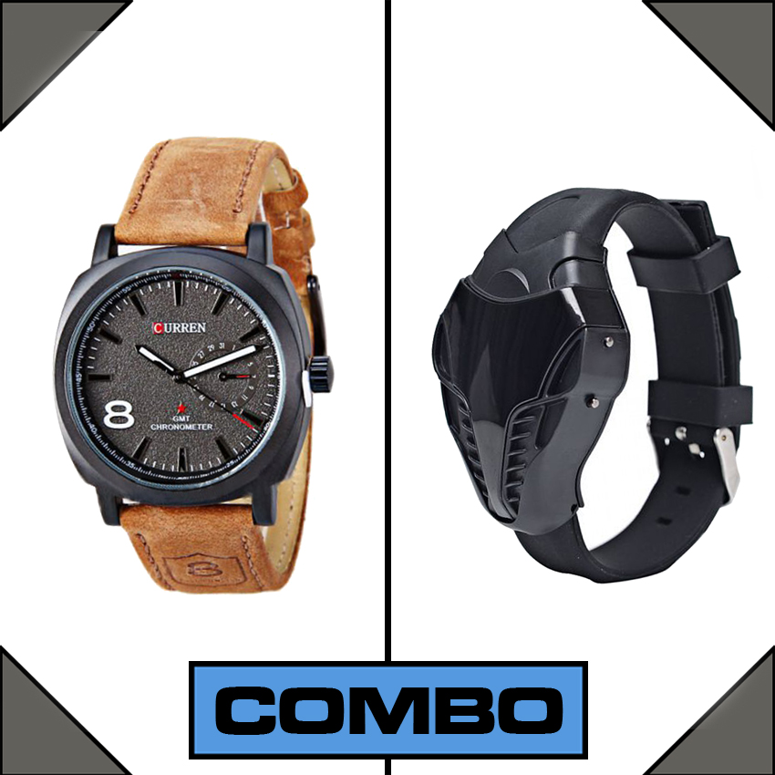 Combo of Curren Black and Cobra LED Watch large 1
