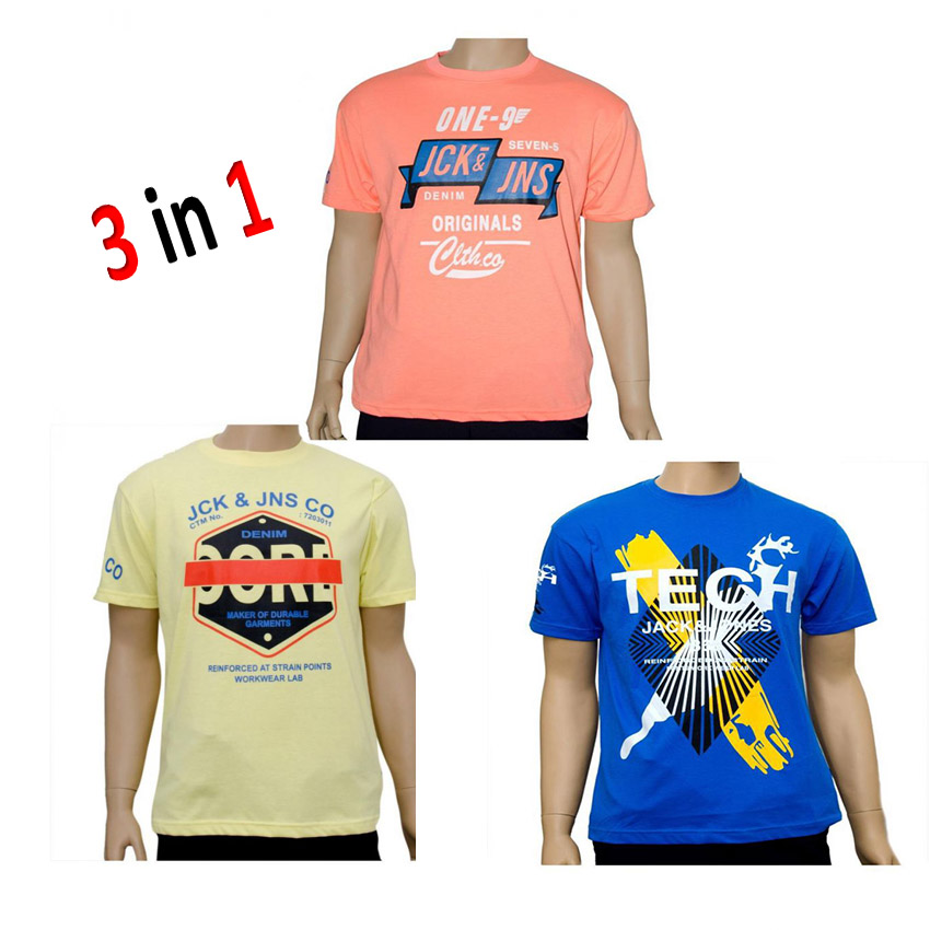 Bundle of 3 Jack And Jones Mens T Shirts