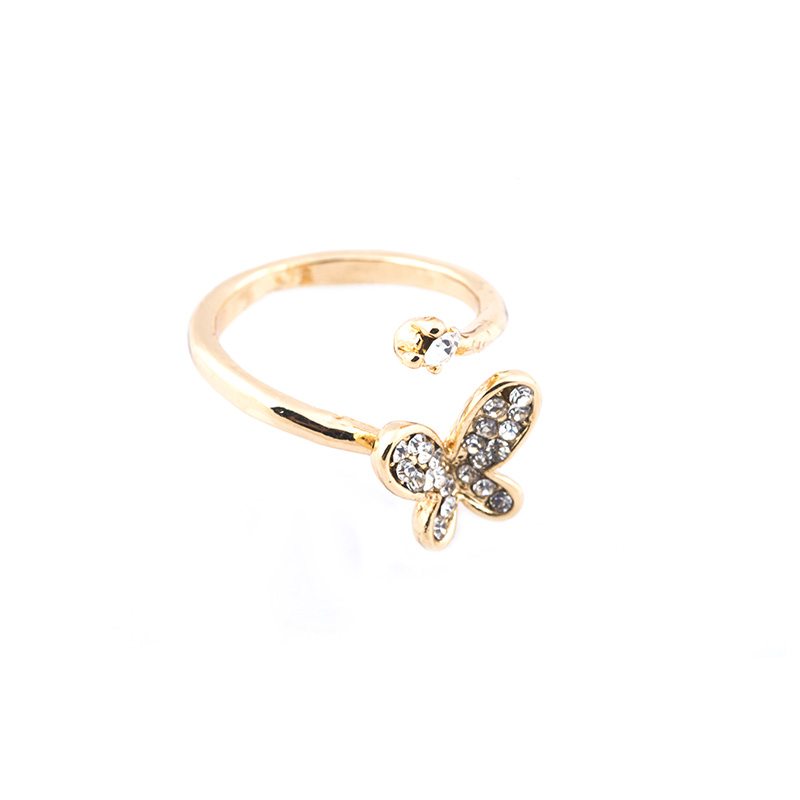 Gold Butterfly Studded Ring RGGBS large 1