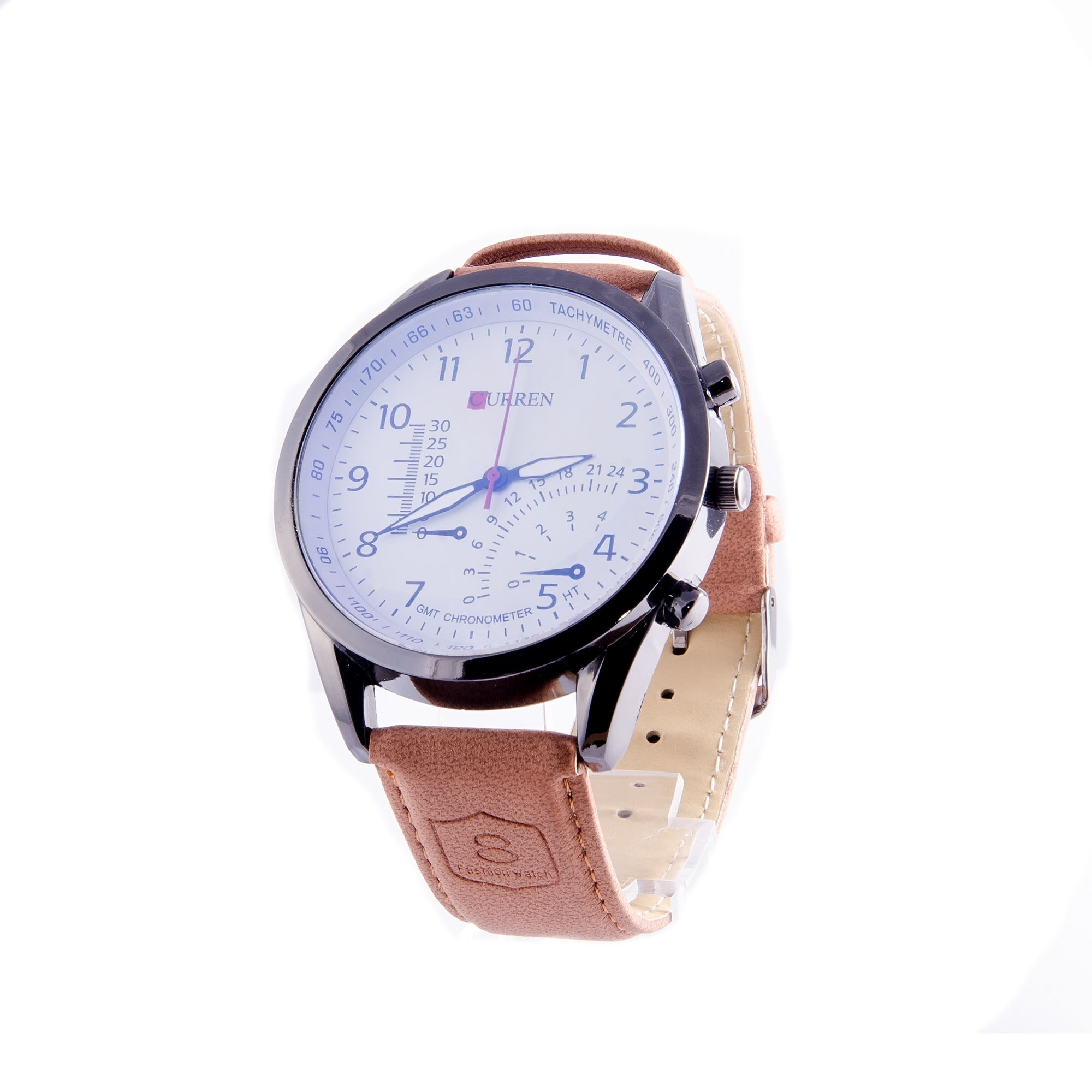 Curren Mens Brown Leather Strap