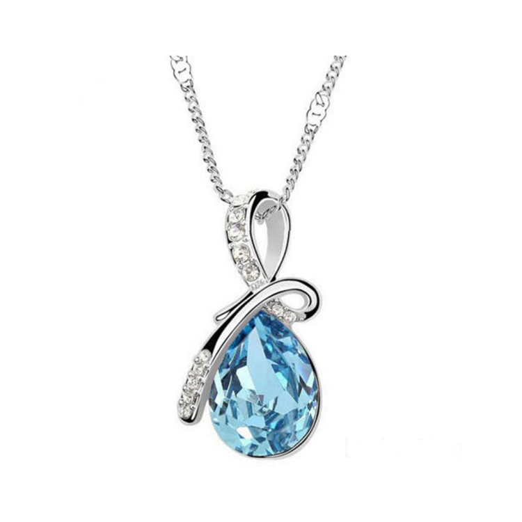 Crystal Angel Tears Drop Pendant Necklace large 1
