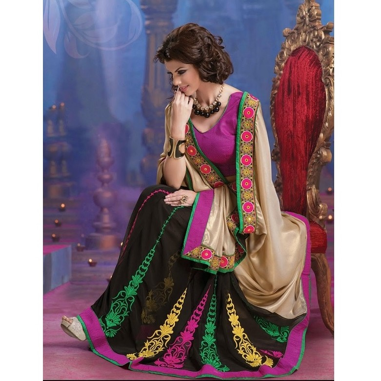 Designer Wear Half & Half Saree SR1383 large 1