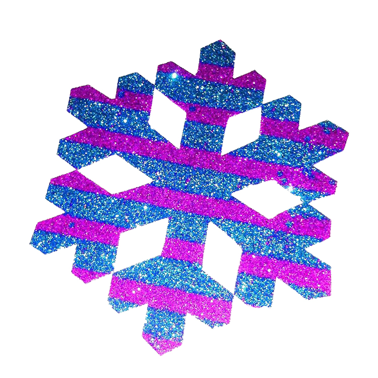 Pack Of 10 Pink And Blue Striped Christmas Decoration Snow Flakes Stickers large 1