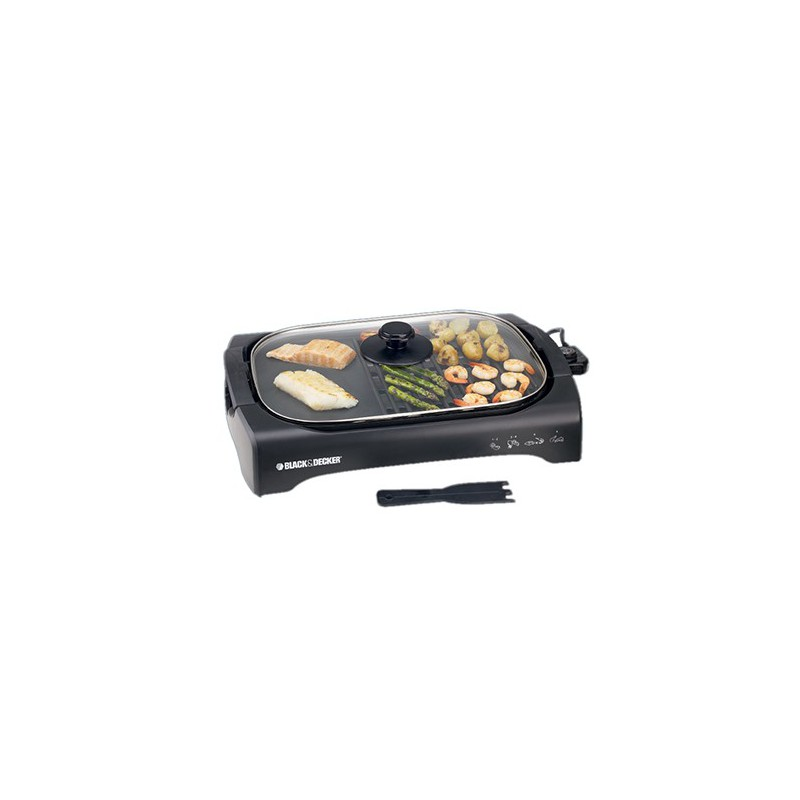 Black & Decker 2200W Open Flat Grill With Glass Lid LGM70 large 2