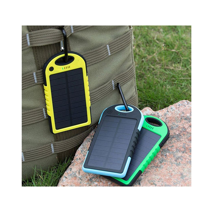 5000 mAh Dual USB Solar Power Bank with LED Light large 1