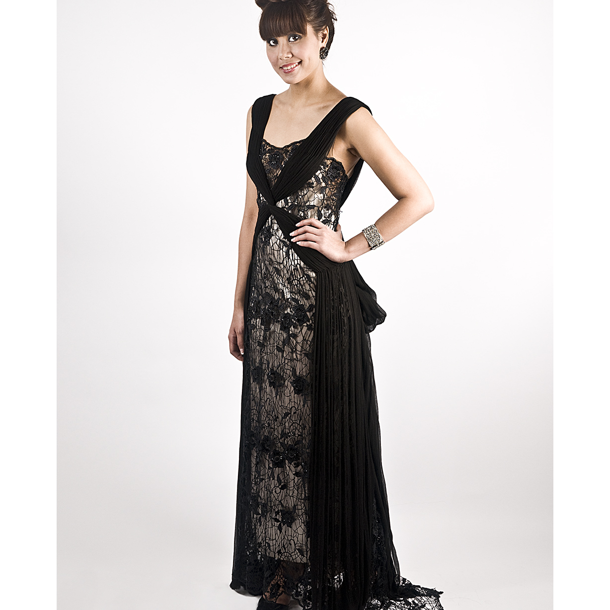 Black Spider Netting Long Gown large 1