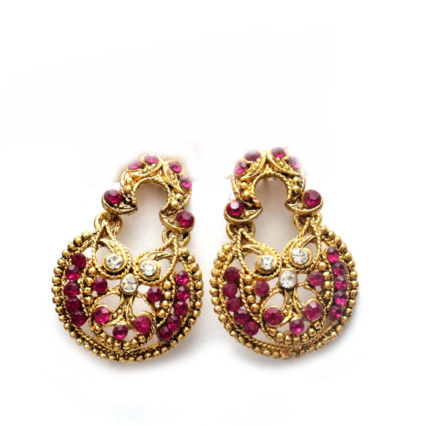 Gold Plated Wedding Wear Purple Stoned Earrings large 1