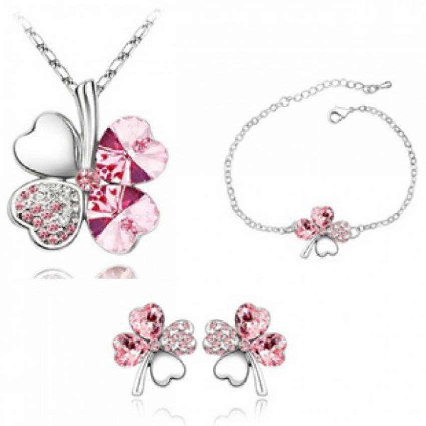 Sweet Four Leaf Grass Jewelry Set large 1
