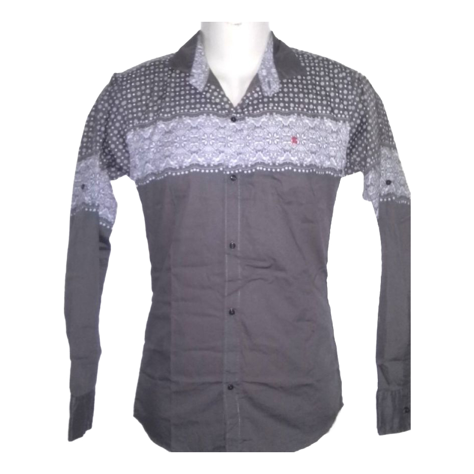 Men Indian Slim Fit Grey Shirt