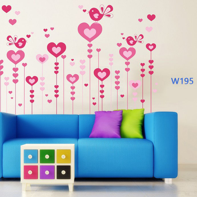 Wall sticker-Hearts shaped Flying Birds large 1
