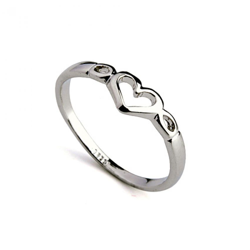 Silver Plated Heart Ring R 030 large 1
