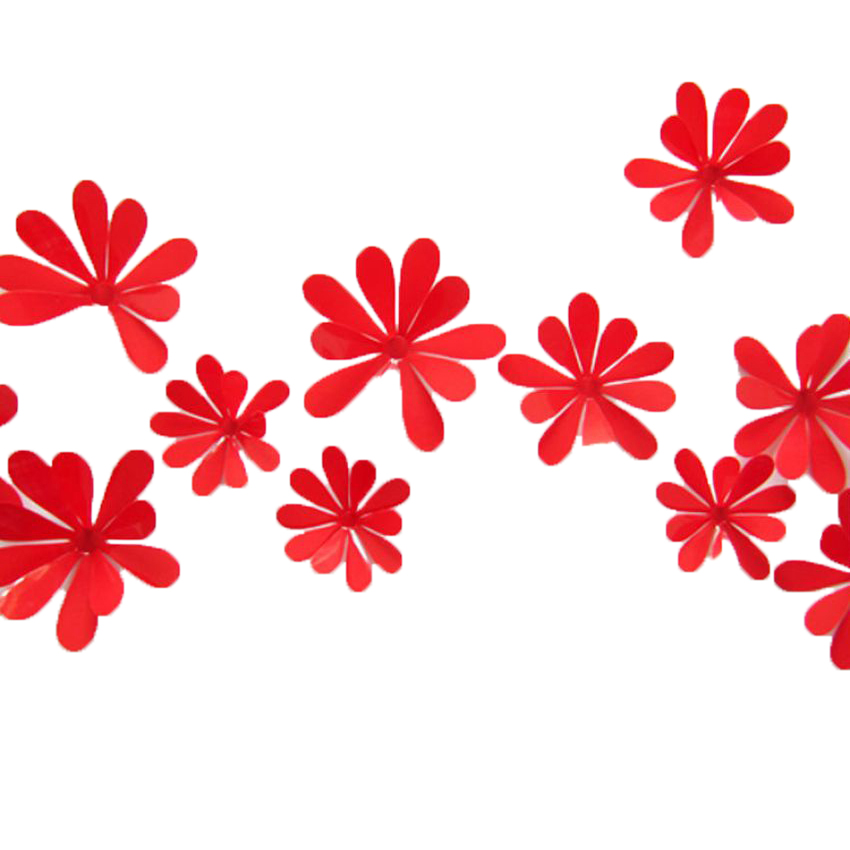 3D Wall Red Flower Design Deco large 1