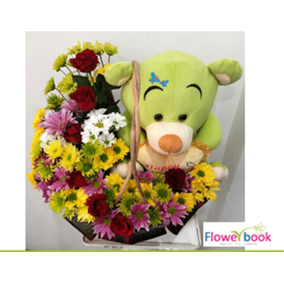 Red Roses and mix gerberas with soft toy TH012 large 1