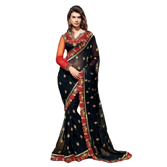 Designer Wear Black Saree SR1413 large 1