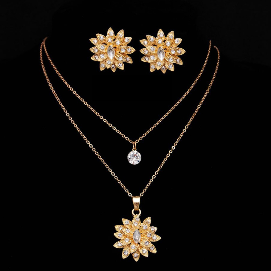 Gold Plated Crystal Jewelry Set SHS1505 large 1