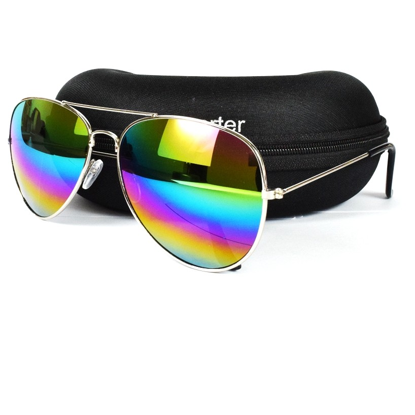 Retro Rainbow Mirror Lens Metal Aviator Sunglass MS019 large 1