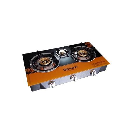 BEKER Three Burner Glass Top Gas Cooker BK701PC