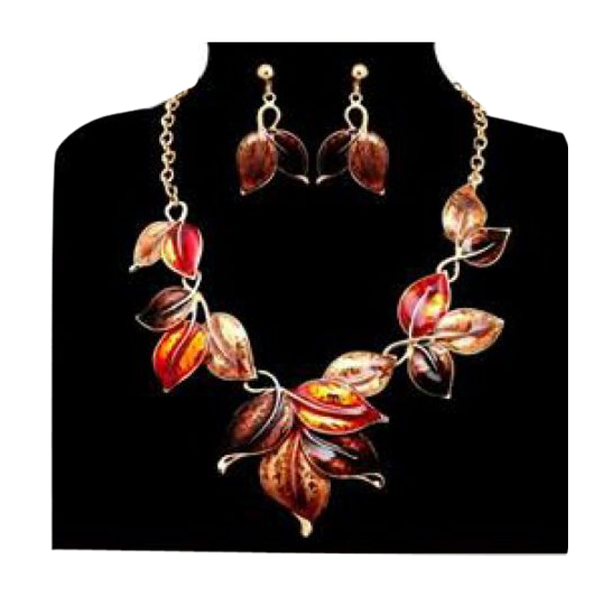 18K Yellow Gold Color Plated Enamel Leaves Necklace with Earrings large 1