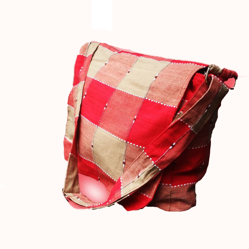 Trendy Red Check Handloom Side Bag large 1