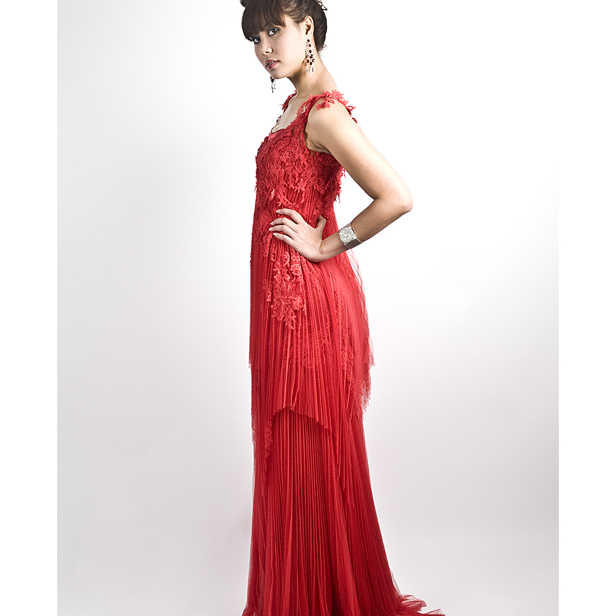 Long Red Gown with Pleated Layerings large 1