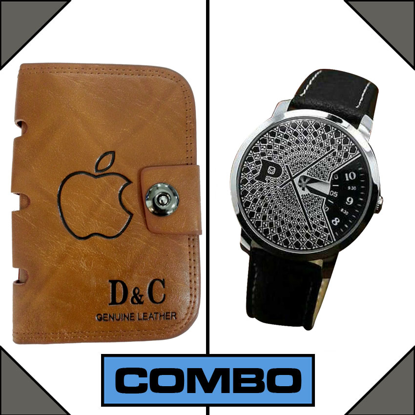 Combo of Paidu Japanese Watch and DC Leather Wallet large 1