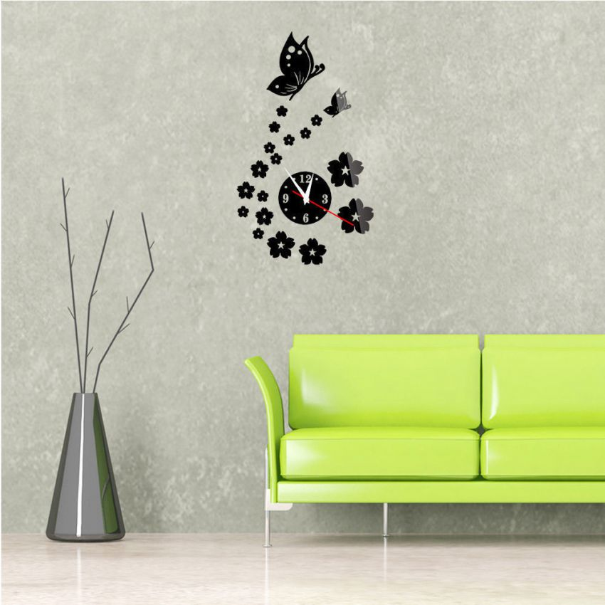 3D Wall Sticker Clock Gold Butterfly large 1