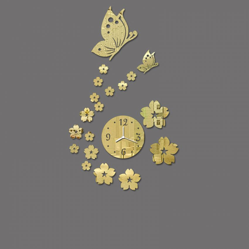3D Wall Sticker Clock Gold Butterfly large 3