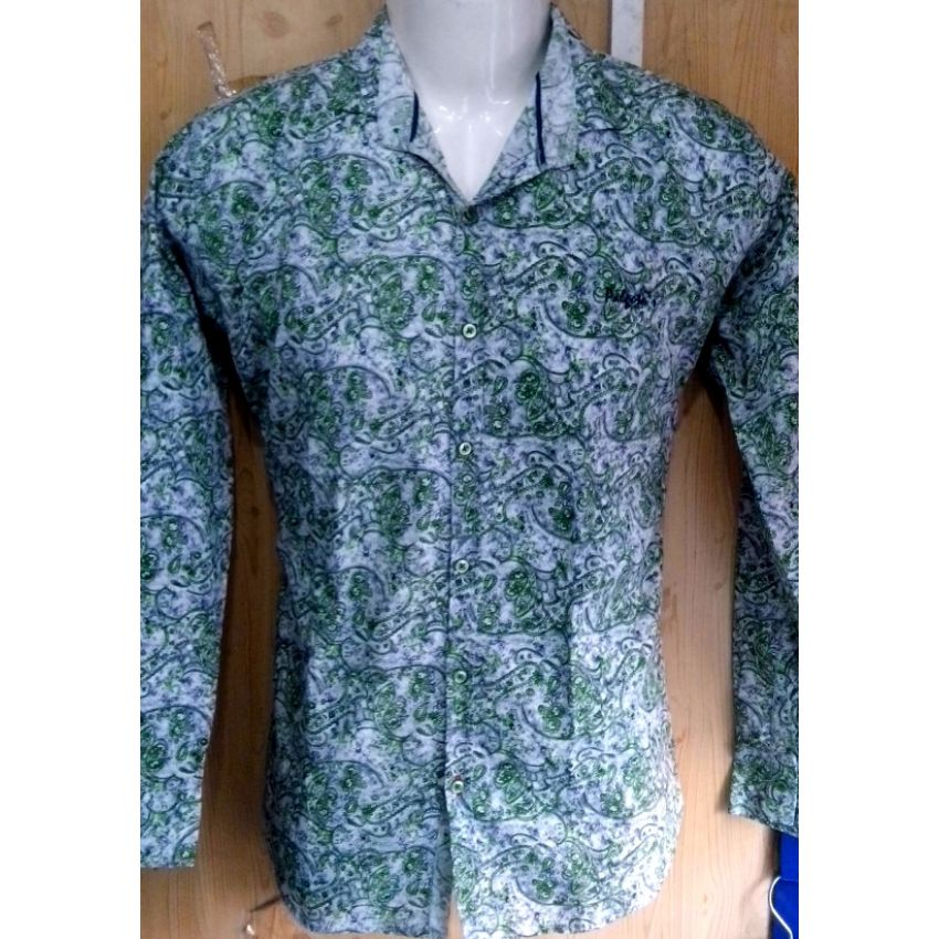 Light Green Quality Indian Printed Shirt large 1