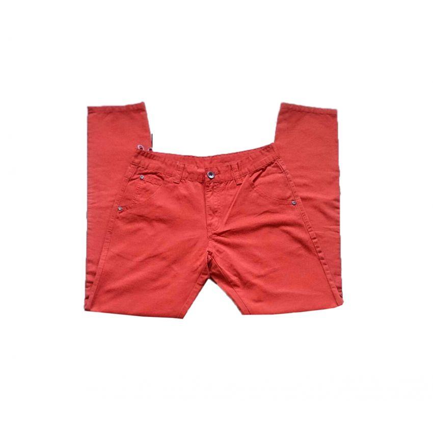 Orange Slim Fit Cotton Jeans