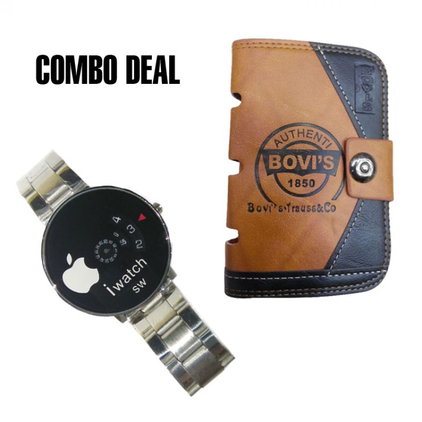 Combo of Round Dial Wrist iWatch and Bovis Wallet for Men large 1