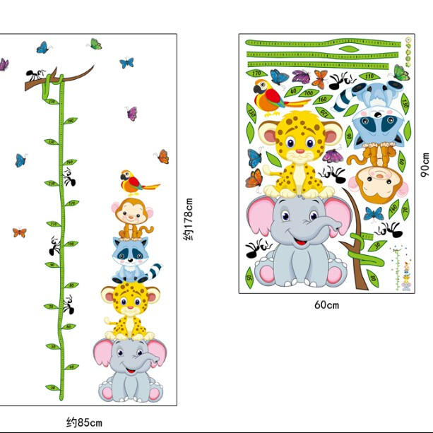 Wall sticker-Animals Height Ruler large 2
