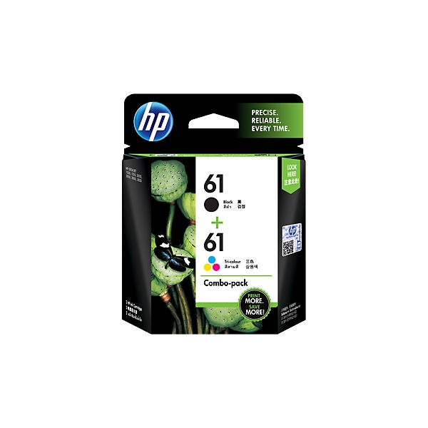 HP 61 2-pack Black and Tri-color Original Ink Cartridges CR311AA large 1