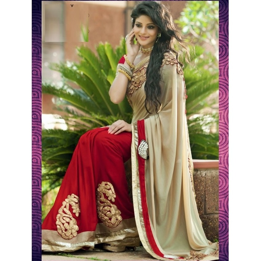 Designer Wear Red H & H Saree SR1445 large 1