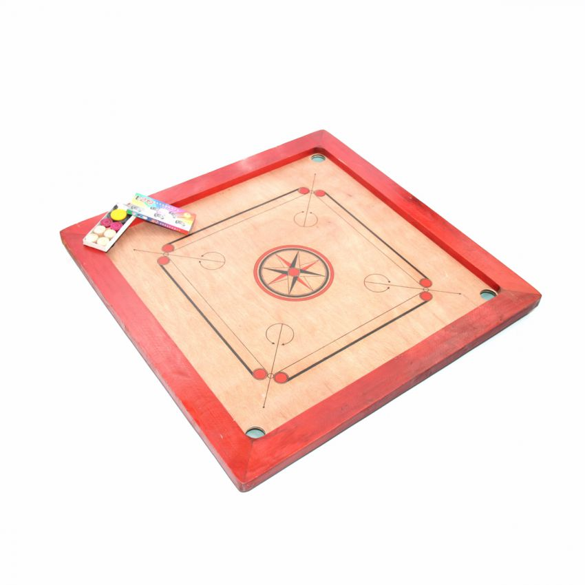 Carrom Board 3mm Red Frame large 1