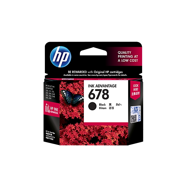 HP 678 Black Ink Advantage Cartridge CZ107AA large 1