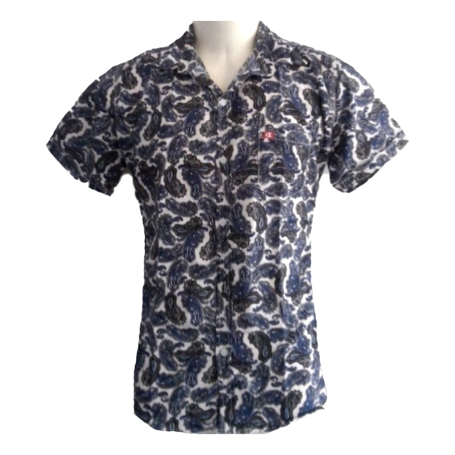 Blue Leaves Printed Shirt large 1