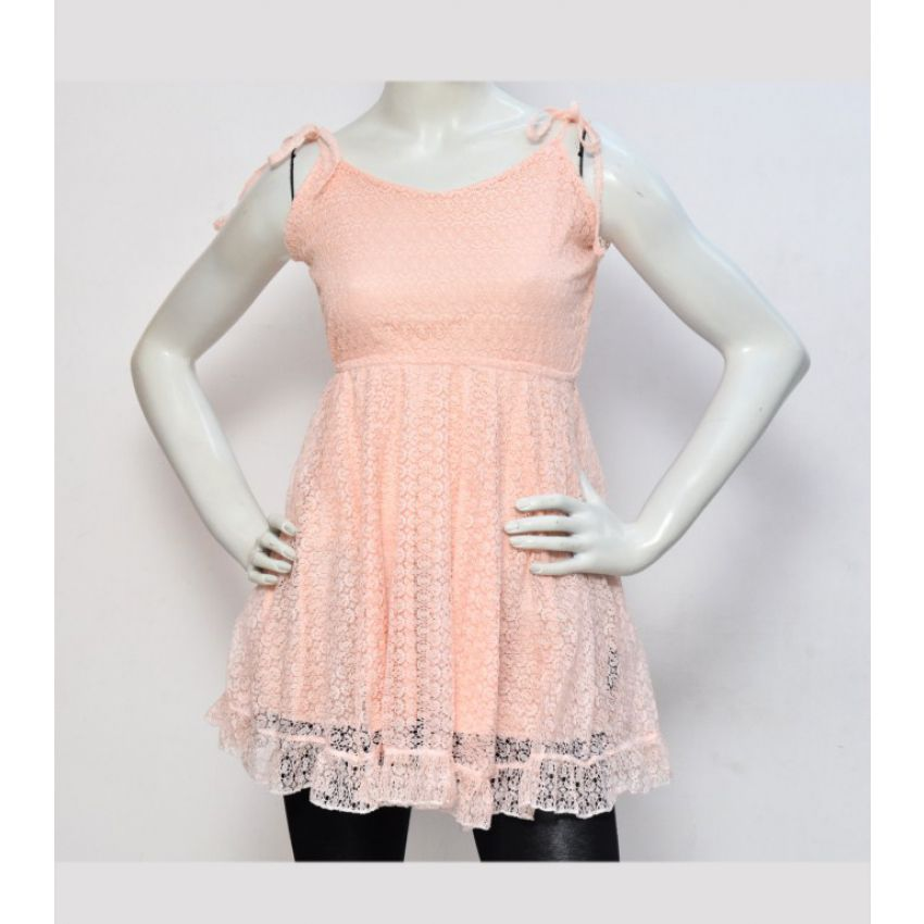 Lace Women Dress - Pink large 1