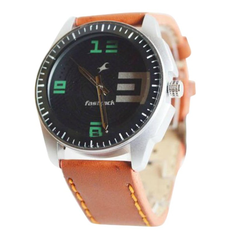 Brown Leather Strap Watch large 1