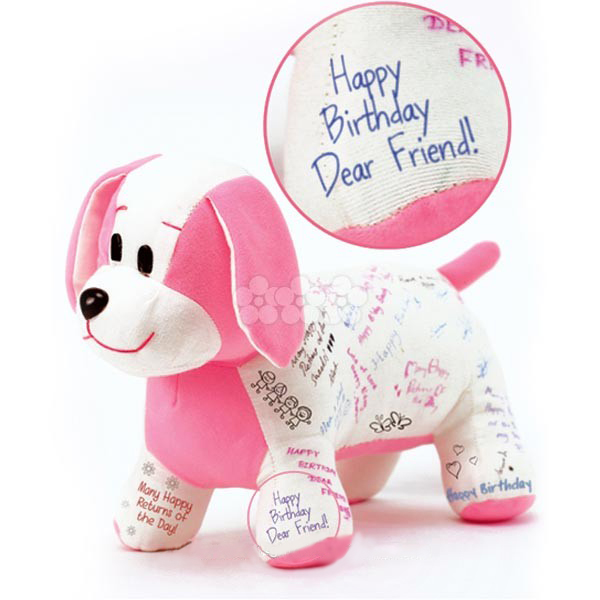 Cuddly Pet dog to be remembered PINK soft toy large 1
