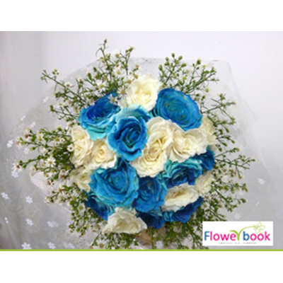 Blue roses with white rose bunch NB008 large 1