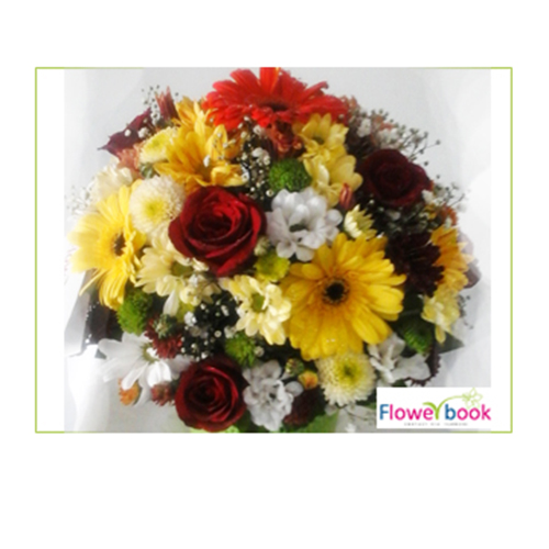 Red Roses with Mix Gerberas Flower Arrangement BD018 large 1