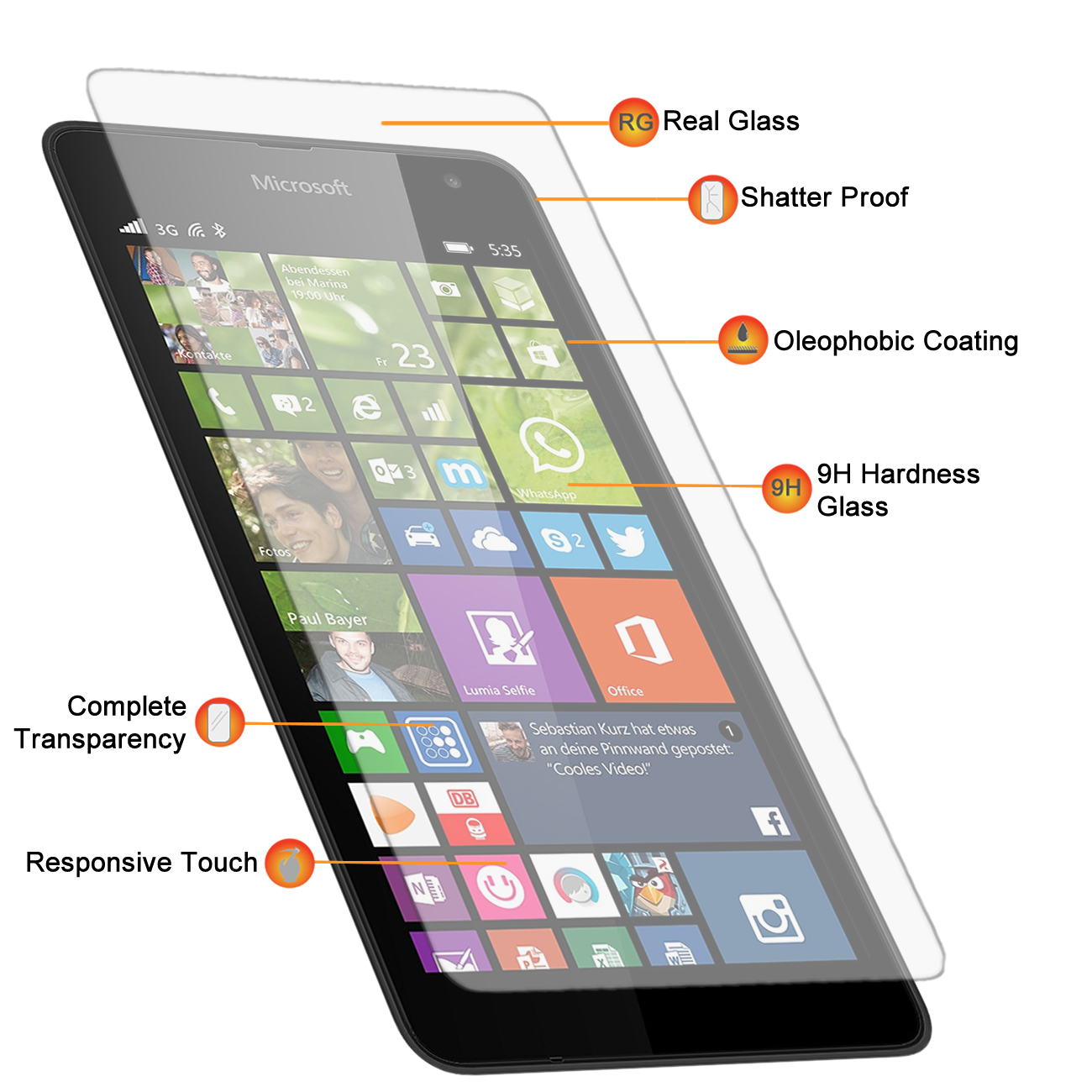 Microsoft Lumia 535 Tempered Glass