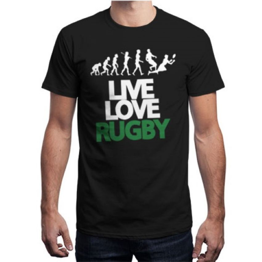 Live Love Rugby Black T shirt for Men large 1