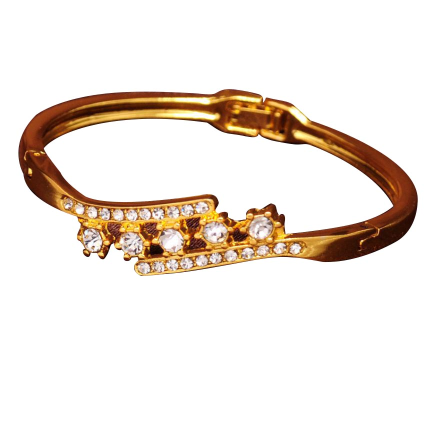 Gold Plated Crystals Flower Bangles large 1