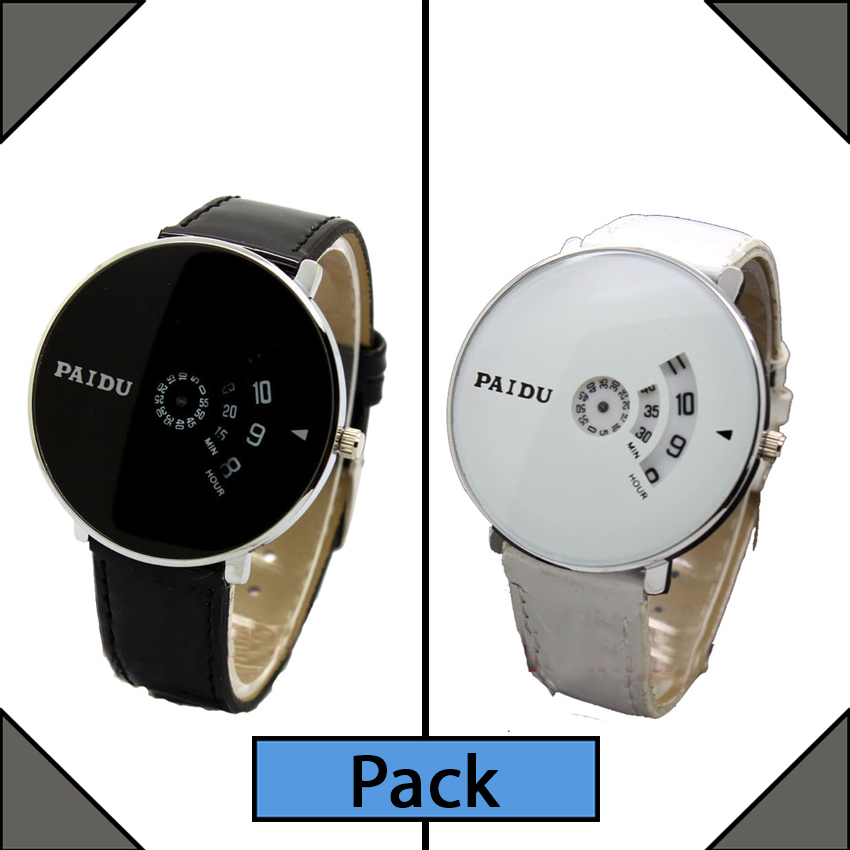 Pack of 2 Paidu Leather Strap Analog Watch for Men large 1