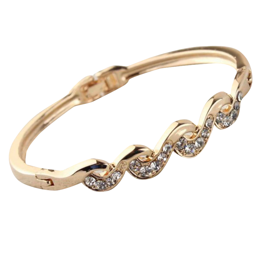 Austrian Crystal Rose Gold Plated Bangle large 1