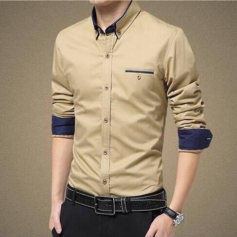 Mens Casual Slim Fit Long Sleeves Shirts - Beige