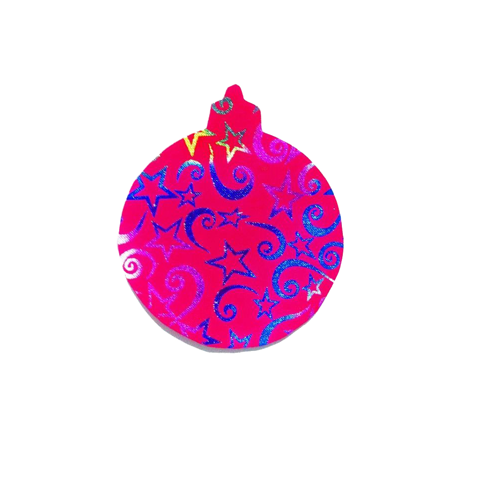 Pack Of 10 Pink And Blue Designed Christmas Decoration Ball Stickers large 1