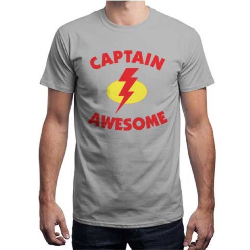 Captain Awesome Light gray T Shirt for Men large 1