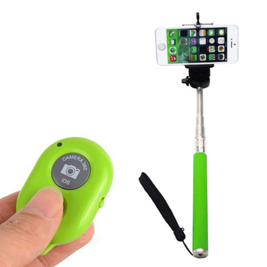green bluethooth selfie stick large 1